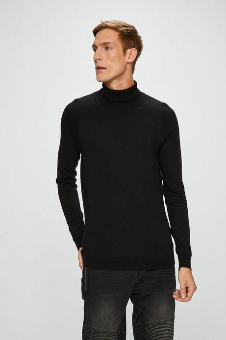 Sweter męski czarny cienki z golfem