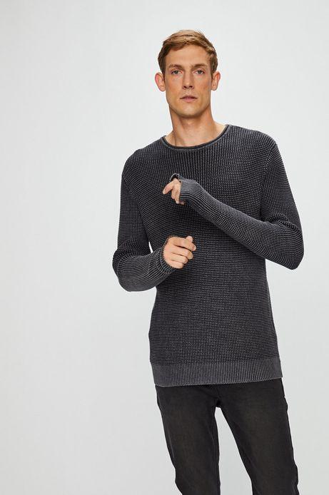 Sweter męski szary cienki z fakturą