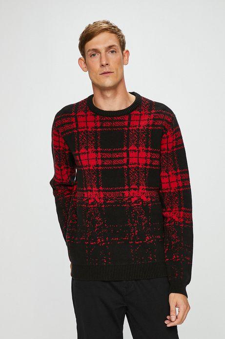 Sweter męski czerwony gruby w kratę