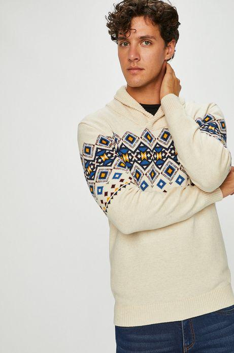 Sweter męski beżowy z efektownym dekoltem