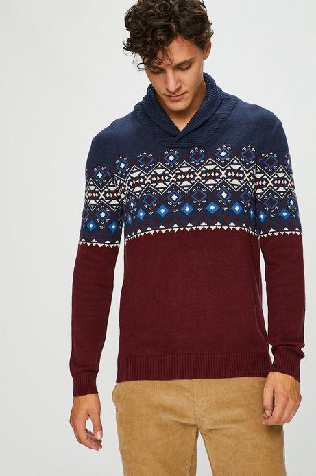 Sweter męski bordowy z efektownym dekoltem