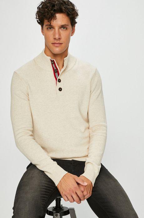 Sweter męski beżowy z półgolfem z zapięciem na guziki
