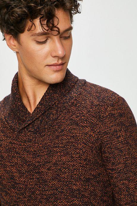 Sweter męski czerwony gruby zakończony ściągaczami