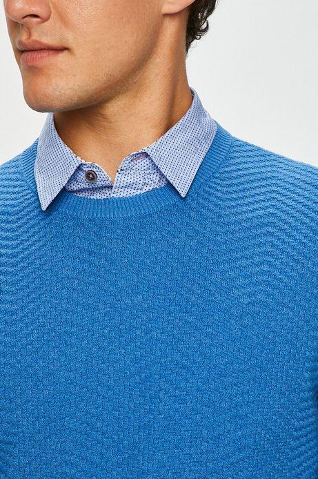 Sweter męski niebieski cienki z okrągłym dekoltem