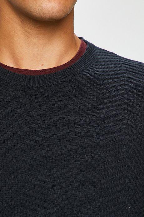 Sweter męski granatowy cienki z okrągłym dekoltem