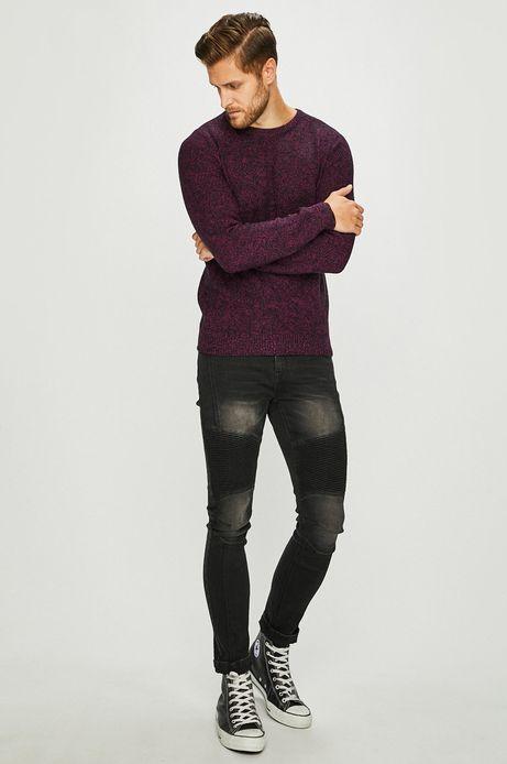 Sweter męski fioletowy zakończony ściągaczami