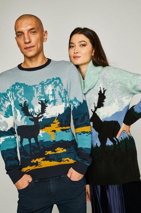 Sweter męski dzianinowy z jeleniem