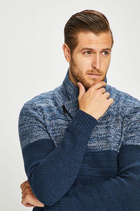 Sweter męski z zakładanym dekoltem granatowy