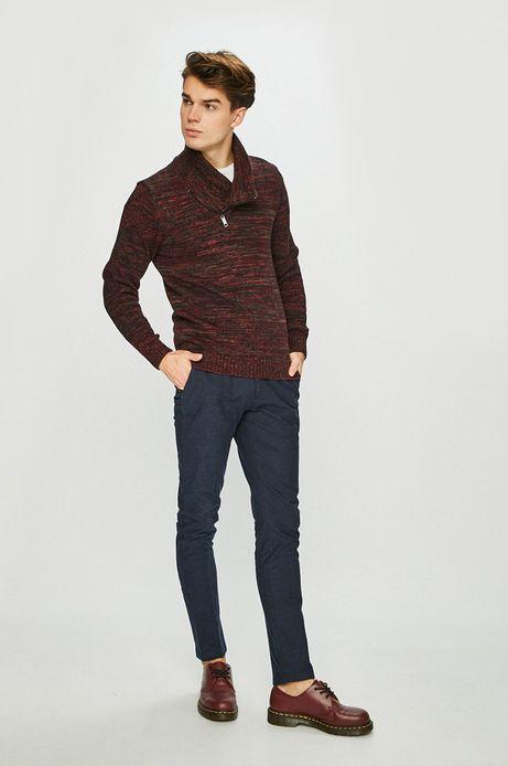 Sweter męski z zakładanym dekoltem czerwony