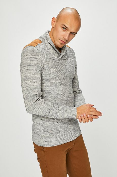 Sweter męski niebieski z efektownym dekoltem
