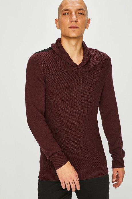 Sweter męski czerwony z efektownym dekoltem
