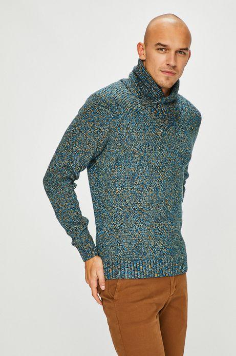 Sweter męski niebieski z zakładanym dekoltem