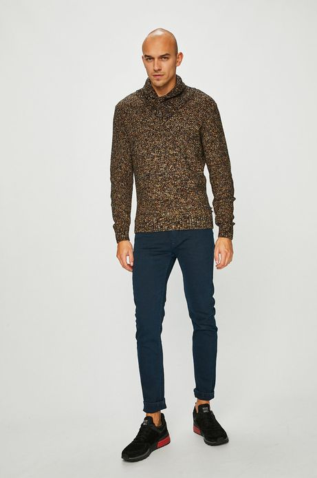 Sweter męski brązowy z zakładanym dekoltem