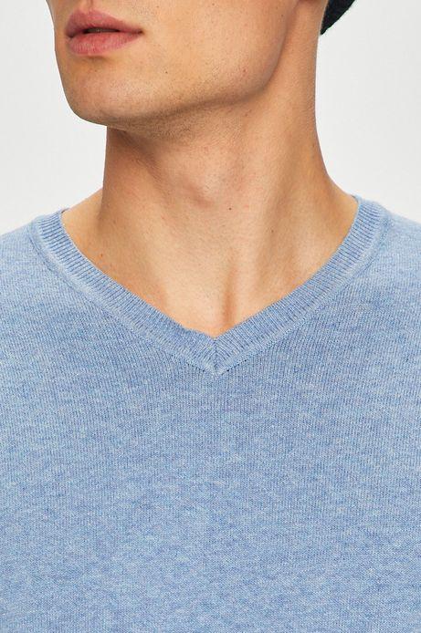 Sweter męski niebieski ze spiczastym dekoltem