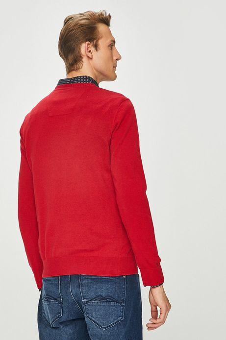 Sweter męski czerwony ze spiczastym dekoltem