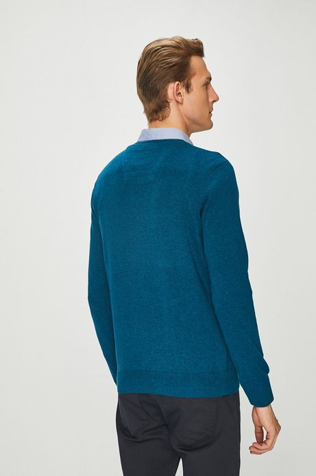 Sweter męski zielony ze spiczastym dekoltem