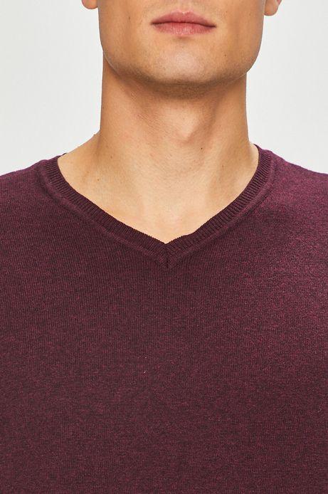 Sweter męski fioletowy ze spiczastym dekoltem