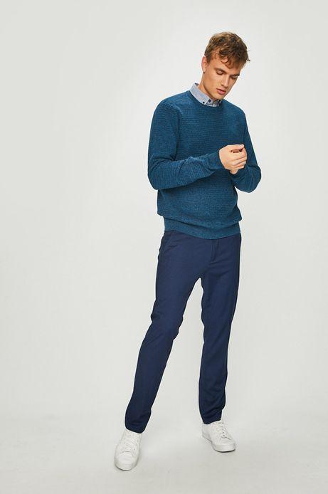 Sweter męski niebieski wykończony ściągaczem
