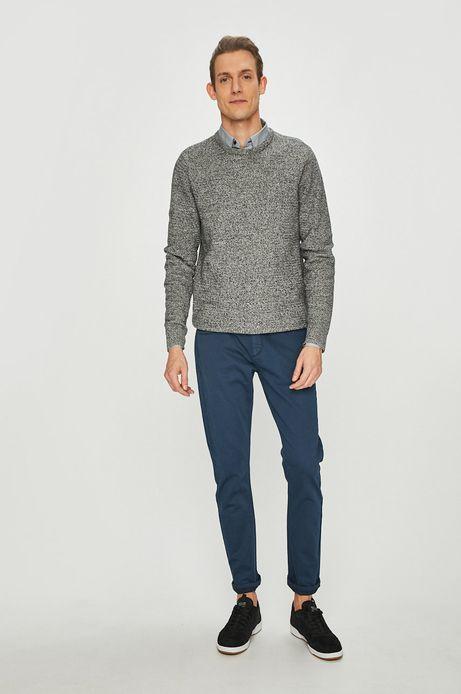 Sweter męski szary wykończony ściągaczem
