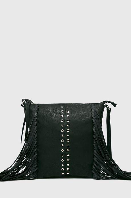 Torebka damska czarna na ramię z ozdobnymi frędzelkami