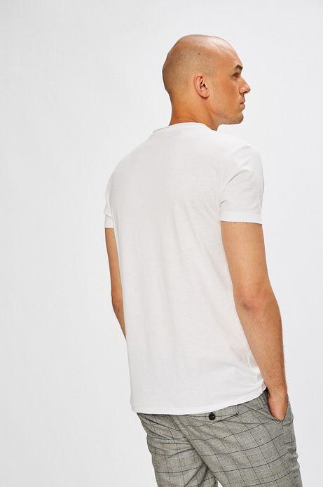T-shirt męski biały gładki z okrągłym dekoltem