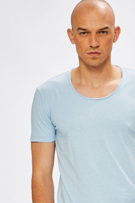 T-shirt męski niebieski gładki z okrągłym dekoltem