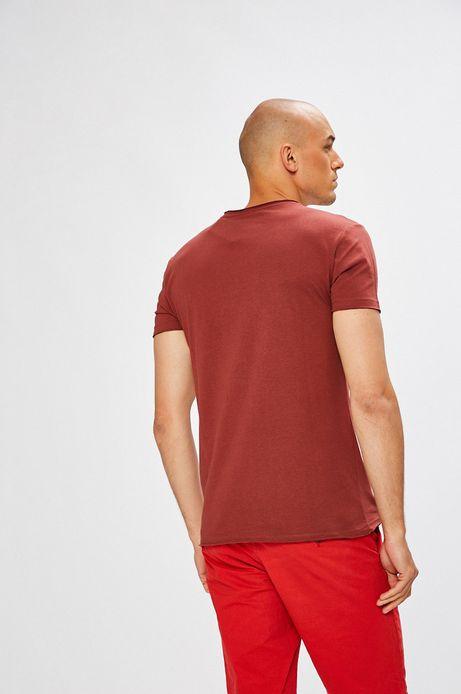 T-shirt męski kasztanowy gładki z okrągłym dekoltem