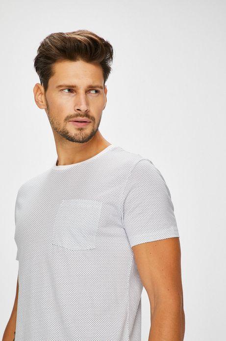 T-shirt męski biały z kieszonką na piersi