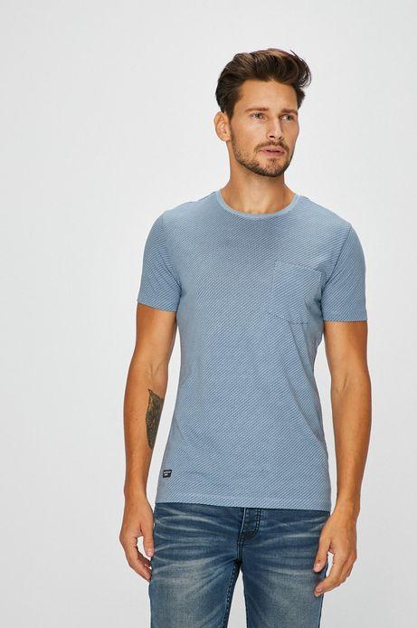 Man's T-shirt męski niebieski z kieszonką na piersi