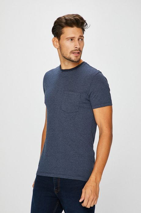 Man's T-shirt męski granatowy z kieszonką na piersi