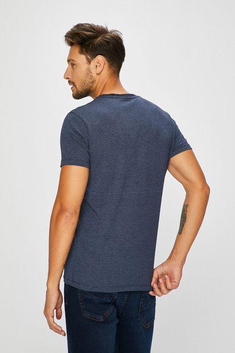 T-shirt męski granatowy z kieszonką na piersi