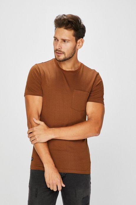 Man's T-shirt męski brązowy z kieszonką na piersi