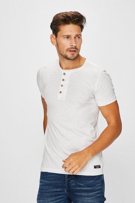 Man's T-shirt męski biały z zapinanym dekoltem