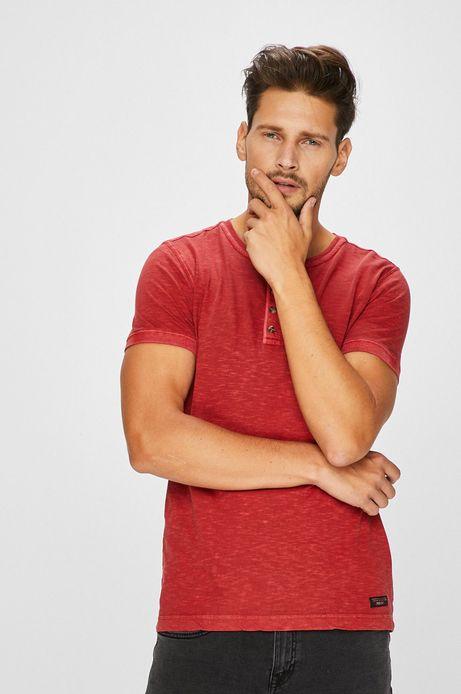 T-shirt męski czerwony z zapinanym dekoltem