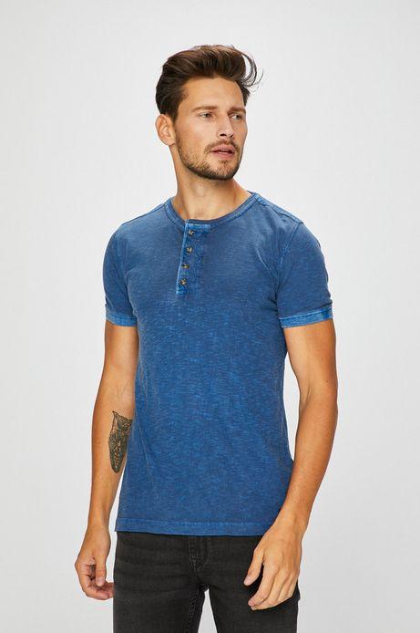 Man's T-shirt męski niebieski z zapinanym dekoltem