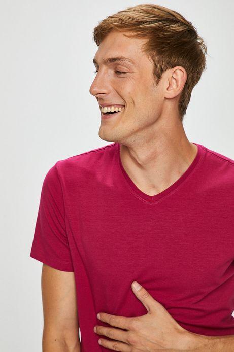 T-shirt męski fioletowy gładki ze szpiczastym dekoltem