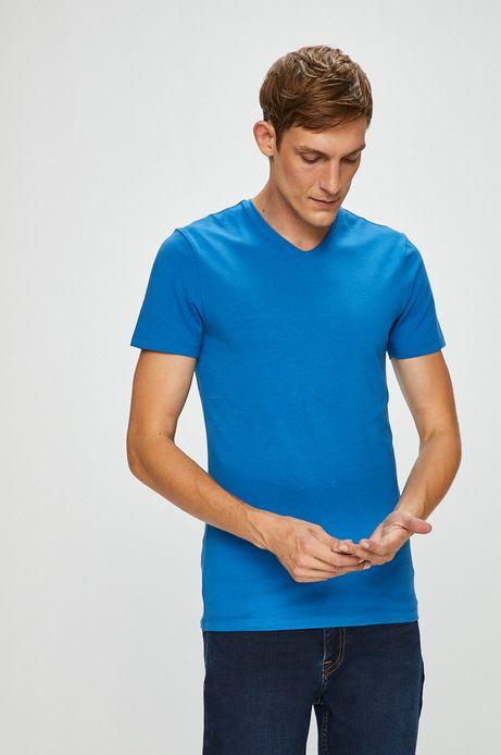 T-shirt męski niebieski gładki ze szpiczastym dekoltem