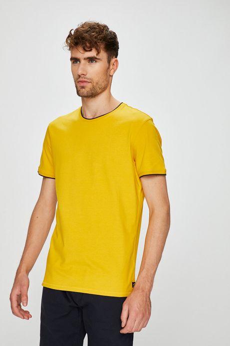T-shirt męski slim żółty gładki