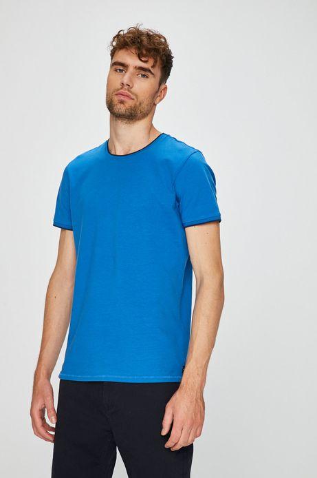 T-shirt męski slim niebieski gładki