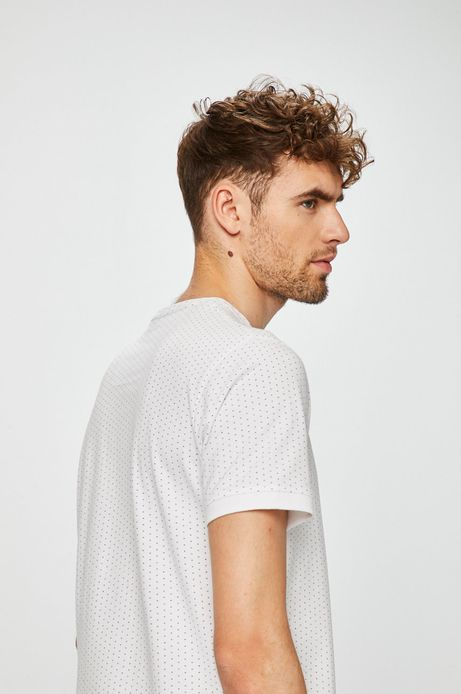 T-shirt męski slim biały w drobne wzory