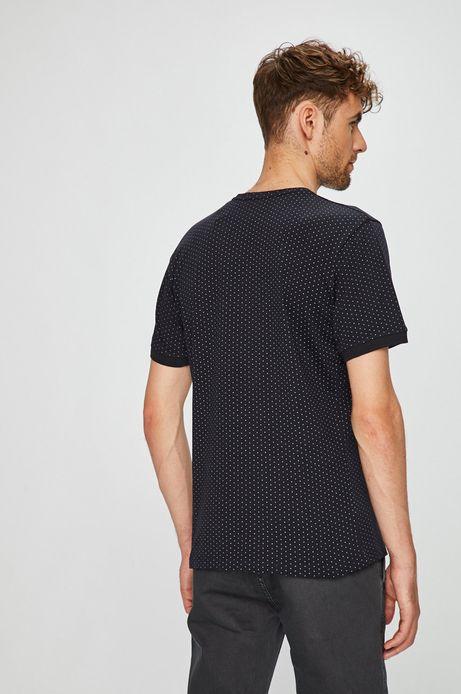 T-shirt męski slim granatowy w drobne wzory