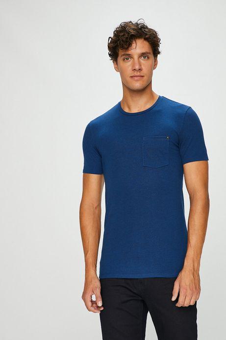 T-shirt męski niebieski gładki z kieszonką na piersi