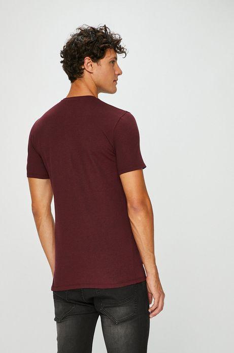 T-shirt męski bordowy gładki z kieszonką na piersi