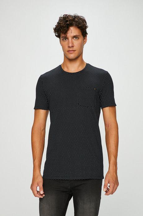 T-shirt męski czarny wzorzysty z kieszonką na piersi