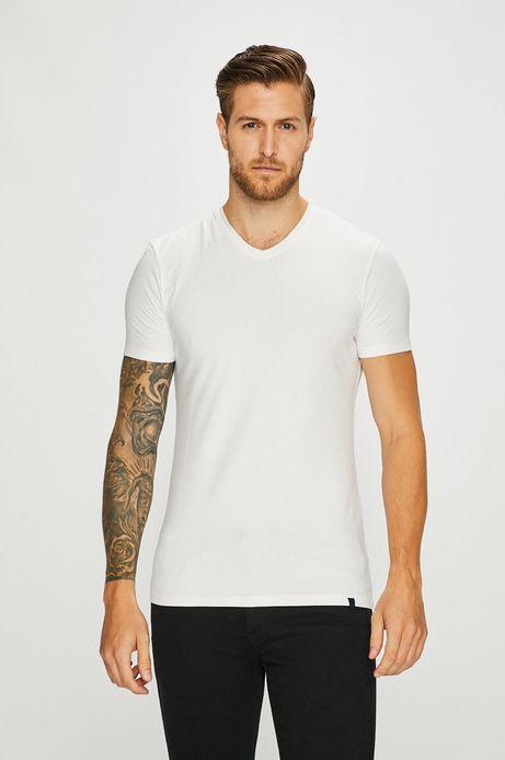 T-shirt męski biały ze spiczastym dekoltem
