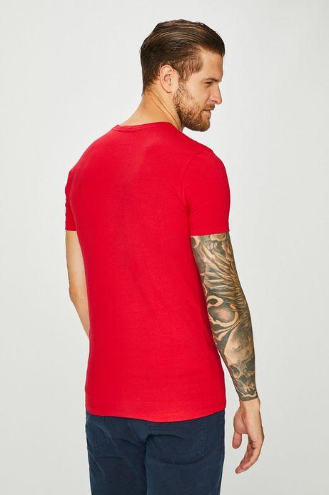 T-shirt męski czerwony ze spiczastym dekoltem