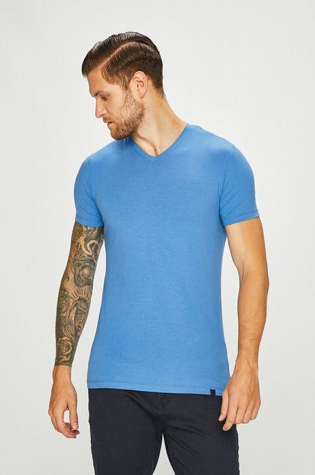 T-shirt męski niebieski ze spiczastym dekoltem