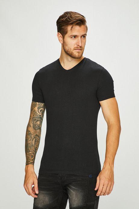 T-shirt męski czarny ze spiczastym dekoltem