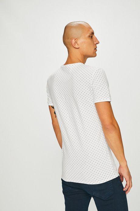 T-shirt męski biały wzorzysty