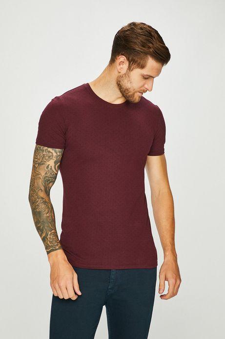 T-shirt męski brązowy wzorzysty